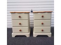 bedside cabinets solid pine shabby chic