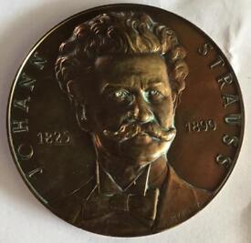 Johann Strauss Brass medallion