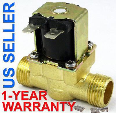 12 In 110v-120v Ac Slim Brass Solenoid Valve Nps Gas Water Air Normally Closed