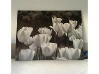 BIG canvas painting tulips black and white modern 115cm x 88cm