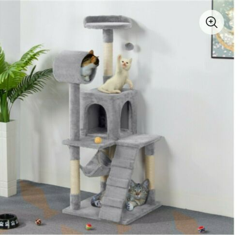 CAT TREE SCRATCHING POST & CONDO TOWER * LIGHT GRAY * YAHEETECH 51-inch * NEW