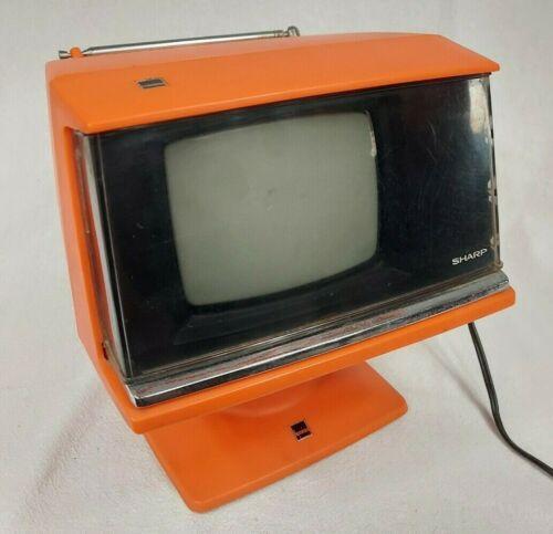 SPACE AGE Sharp Transistor Television Blood Orange 3S-111R WORKS