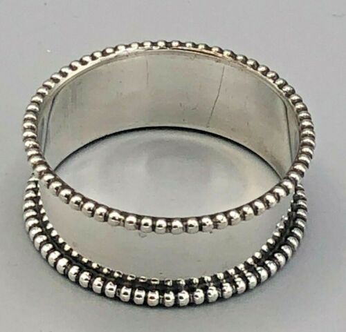 """Beaded Napkin Ring 5/8"""" wide band, just marked Sterling"""