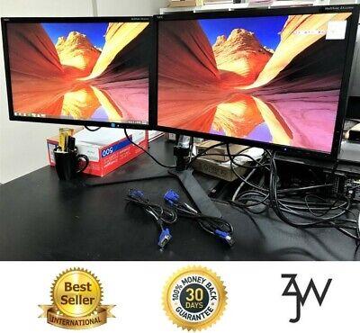 "Dual Monitor Screen Set 2x 22"" 1680x1050 HD NEC EA223 W/ Flex Dual Stand + VGAs"