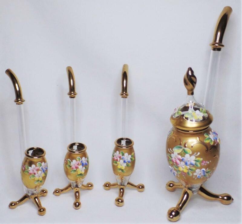 SET BOHEMIAN CZECH BLOWN GLASS ENAMEL PORT WINE DECANTER 3 SIPPER PIPE PIPETTES
