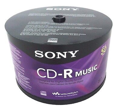 50 Sony Blank Music Cd R Cdr Branded 80Min Digital Audio Media Disc