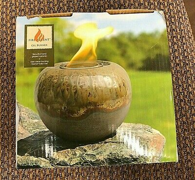 Fire Accent Gel Burner Hand Glazed Ceramic Canister Container NIB Gel Fire Burners