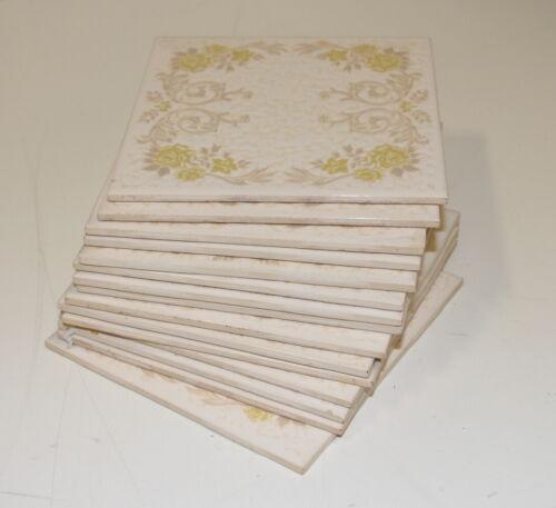 LOT OF (15) -Vintage MARCA INCEPA YELLOW Floral Glazed Porcelain Tiles - Brazil