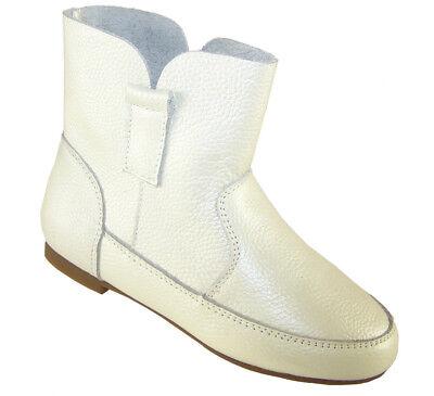 Mädchen Kinder Weiß Leder Hineinschlüpfen Kunstpelz Futter Knöchel Mode Stiefel