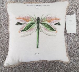 Marks & Spencer Embroidered Dragonfly Cushion Cream Small NWT RRP £12 Christmas