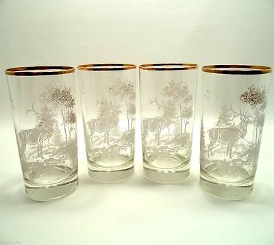 CRYSTAL ART GLASS TUMBLERS ETCHED FROSTED FOREST ELK TREE SET (s) OF 4 GOLD RIM
