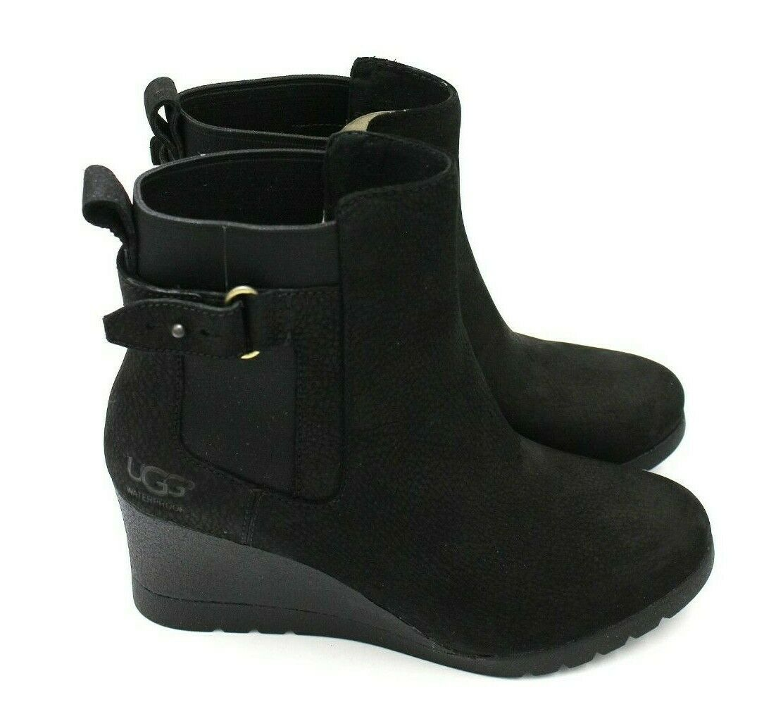 UGG AUSTRALIA Indra Womens Leather Waterproof Wedge Boot - B