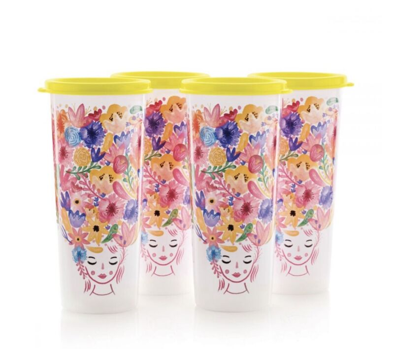 TUPPERWARE TUMBLERS SET WITH LIDS-IN FANCIFUL FLORAL EXCLUSIVE DESIGN !!!