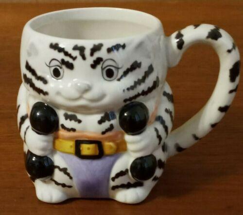Mary Ann Baker Design Striped Cat Workout Mug Kitty Weightlifting Coffee Tea