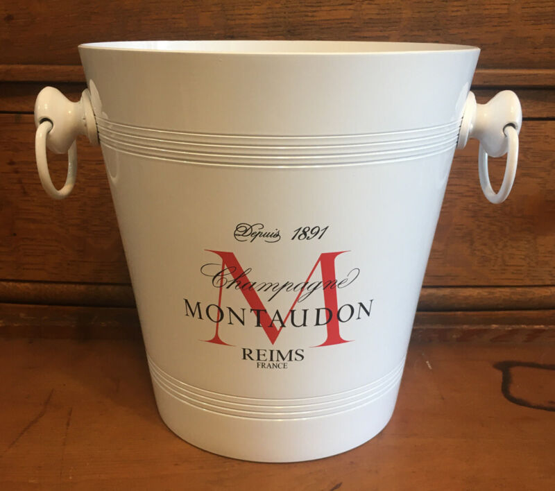 French Champagne Montaudon White Metal Ice Bucket Cooler