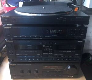 TECHNICS HI-FI STEREO HIGH END 4 UNIT STACK SYSTEM TURNTABLE AMP TAPE DECK TUNER
