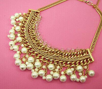 Pearl and Glass Beaded Statement Necklace with Layered Chain- NEW