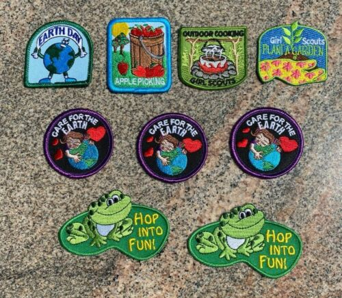 LOT OF 9 GIRL SCOUT OUTDOORS+EARTH DAY+GARDEN VARIETY FUN PATCHES *NEW & UNUSED*