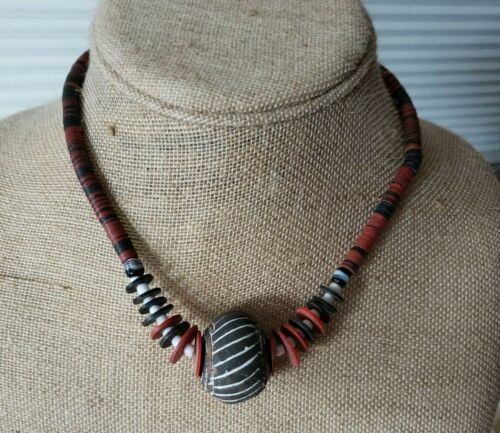 New - African - Jigida Beaded Disk Necklace with Clay Bead - Handmade - Nigeria