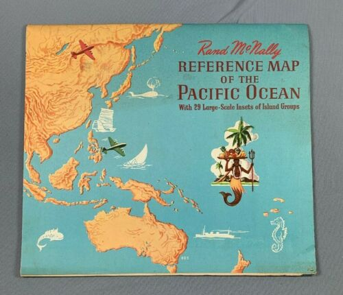 Vintage Rand McNally Reference Map Of The Pacific Ocean