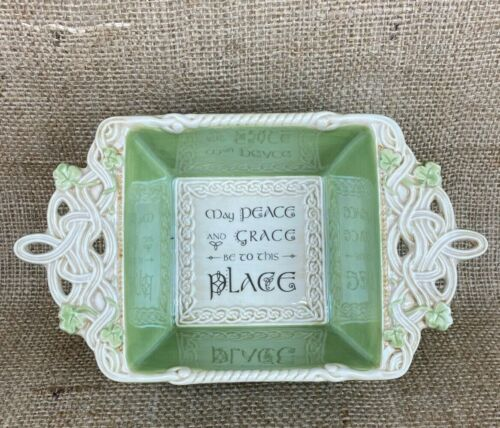 Celtic Traditions by Grasslands Road Square Bowl Embossed Green & Cream