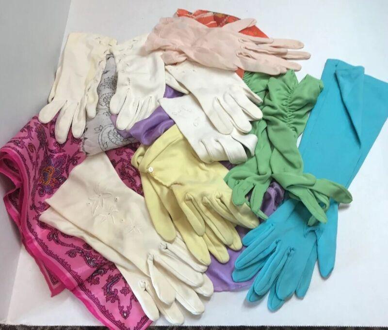Vintage 11 Item Lot 6 Pair Tea Evening Wedding Party Gloves 4 Bold Scarves
