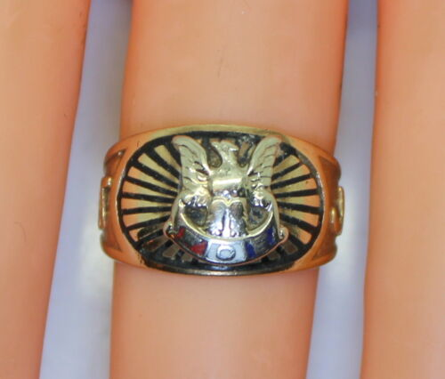 Thick & Heavy 10K Yellow Gold Fraternal Order Of The Eagles Enameled Ring Size 6