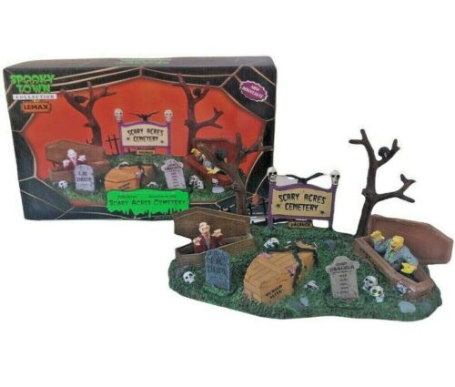 Lemax Spooky Town Halloween Scary Acres Cemetery 2010 Village Accessory - Great