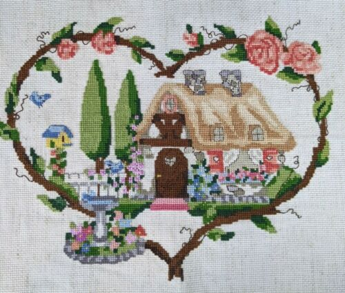 Woodland Cottage in a Heart Cross Stitch Needlepoint COMPLETED