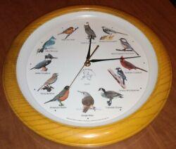 National Audubon Society SINGING BIRD CLOCK Faux Wood Round 13.5