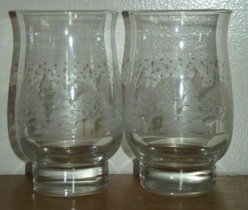 2 Libbey Christmas Winter White Frosted Pine Trees Tumblers Glasses Arby