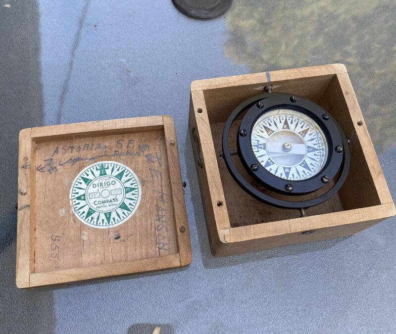 Vintage Dirigo Nautical Maritime Compass Made By Eugene M. Sherman. With Box