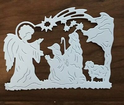 5 Paper Die Cuts. Angel and Shepherds scene. Religious Christmas. Scrapbooking