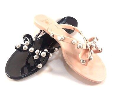 Dizzy Pearly Jelly Flat Thong Slip On Flip Flops Choose Sz Color