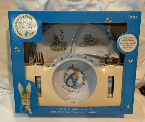 Beatrix Potter Peter Rabbit 4 Piece Melamine Dinnerware Set ~ New !!!