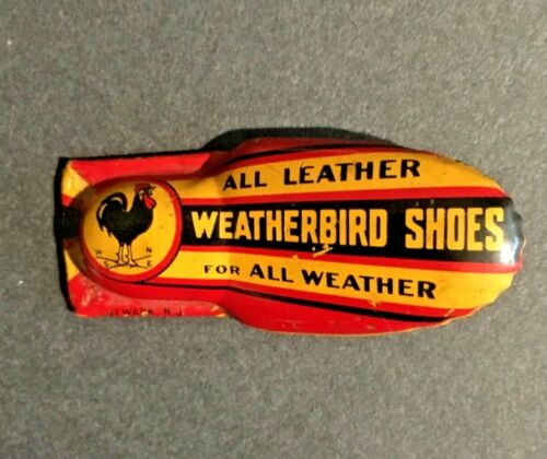 Vintage WEATHERBIRD SHOES Tin Litho Advertising Toy Clicker