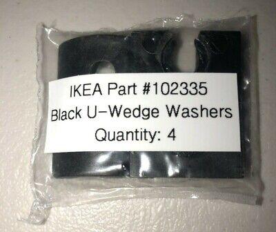 Lot of 4 Genuine IKEA Black U-wedge Washers, Part # 102335 (w/o metal washers)