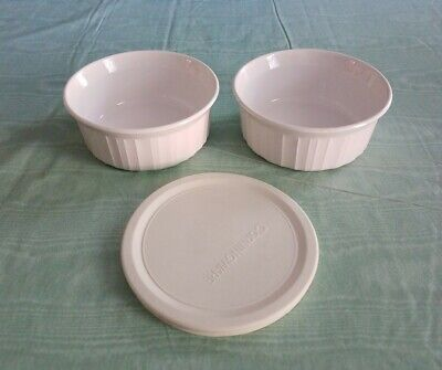 Corning Ware FRENCH WHITE 500ml F-16-B CASSEROLE BAKING DISH Set/ 2, W/1 Lid