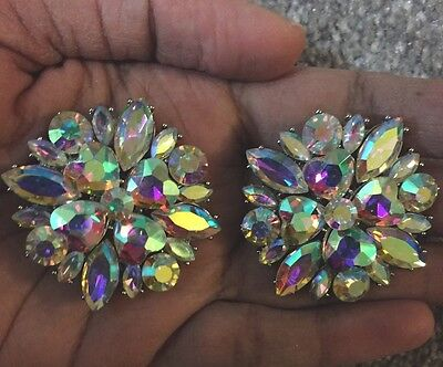 """1.25"""" Big Clip On Stud Aurora Borealis Ab Silver Clear Pageant Crystal Earrings"""
