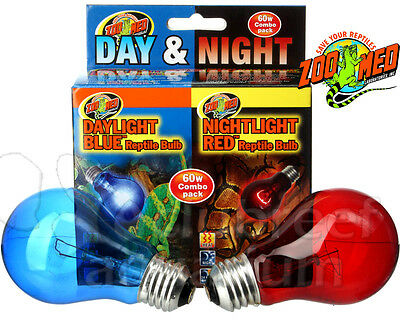Zoo Med Day & Night Bulb Combo Pack Red & Blue 60 W Watt Reptile Terrarium -