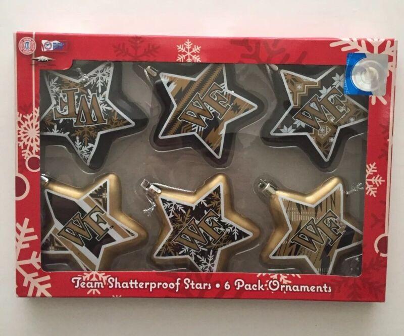 Wake Forest Demon Deacons Christmas Team Ornaments Shatterproof Stars 6 Pack