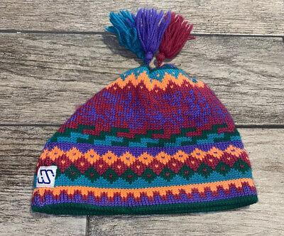 50/'s Fair Isle Braided Pure Wool Ski Cap Hand Knit Vermont Ski Cap  70s Wool Ski Skater Beanie Hat  Winter Cobain Grunge Beanie