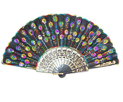 Chinese Silk Color Bead Embroidered Folding Wedding Party Hand Fan