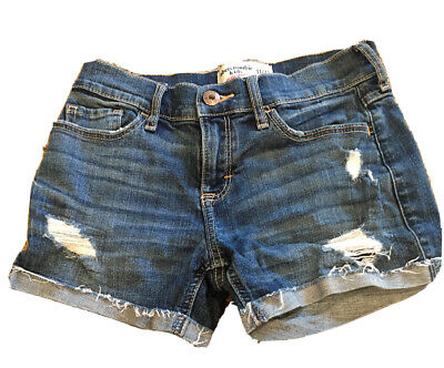 Abercrombie Kids Girls Blue Denim jean Shorts ripped midi length size 11/12