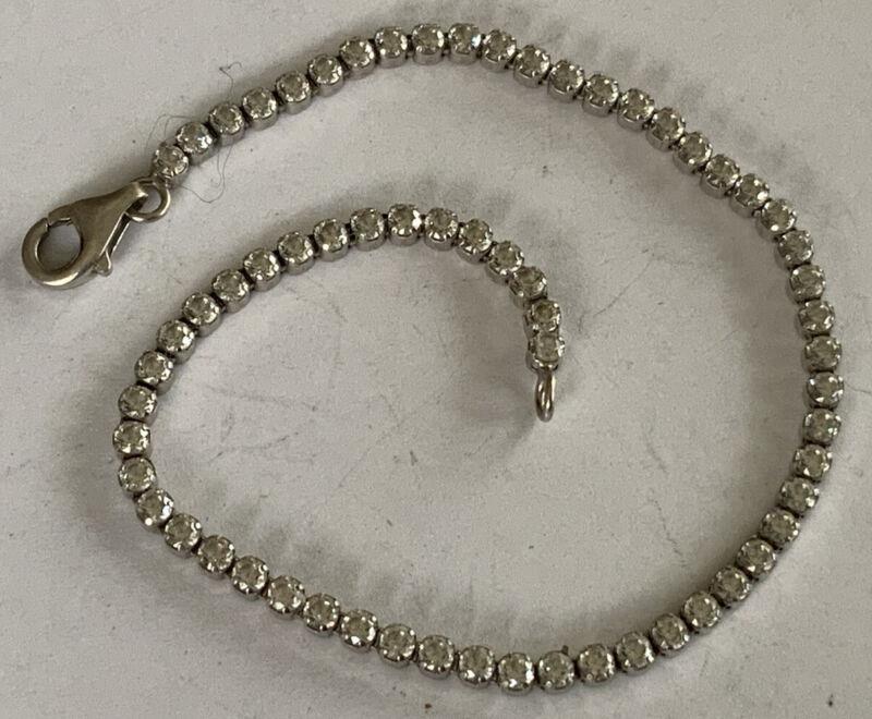 "Eye-Catching Sterling Silver 925 White Sapphire Tennis Bracelet 6.75"" CK69"