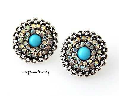 Round Aurora Borealis Crystal Turquoise Cabochon Pierced Post Stud Earrings