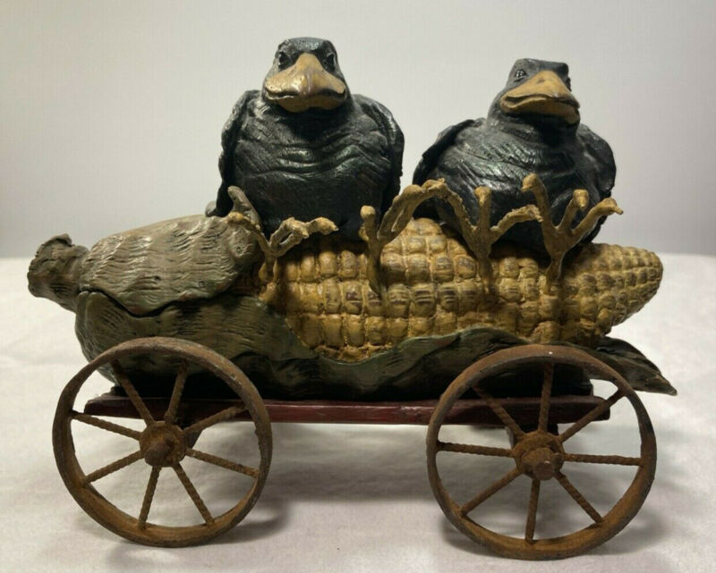 "American Chestnut Folk Art ""Corn Kings"" Crows Corn Cart Fall Decor"