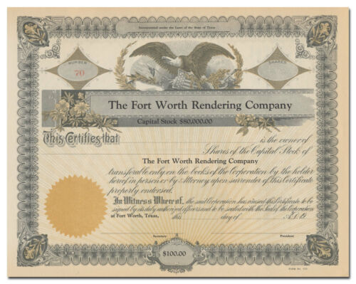 Fort Worth Rendering Company Stock Certificate (Texas)