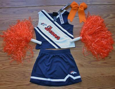 DENVER BRONCOS CHEERLEADER OUTFIT HALLOWEEN COSTUME  3T POM POMS BOW CHEER SET