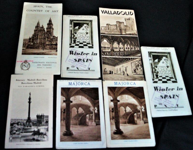 LOT OF 7 SPAIN TRAVEL & TOURISM ADVERTISING SOUVENIR BROCHURES 1932 VINTAGE